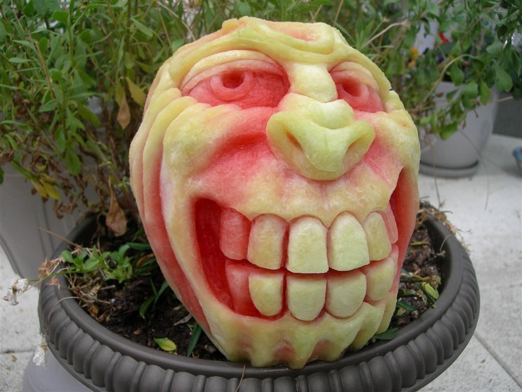 Watermelon carving cool food edible art