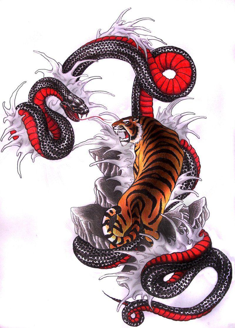 japanese art snake vs tiger Tiger vs Snake by Clouds94