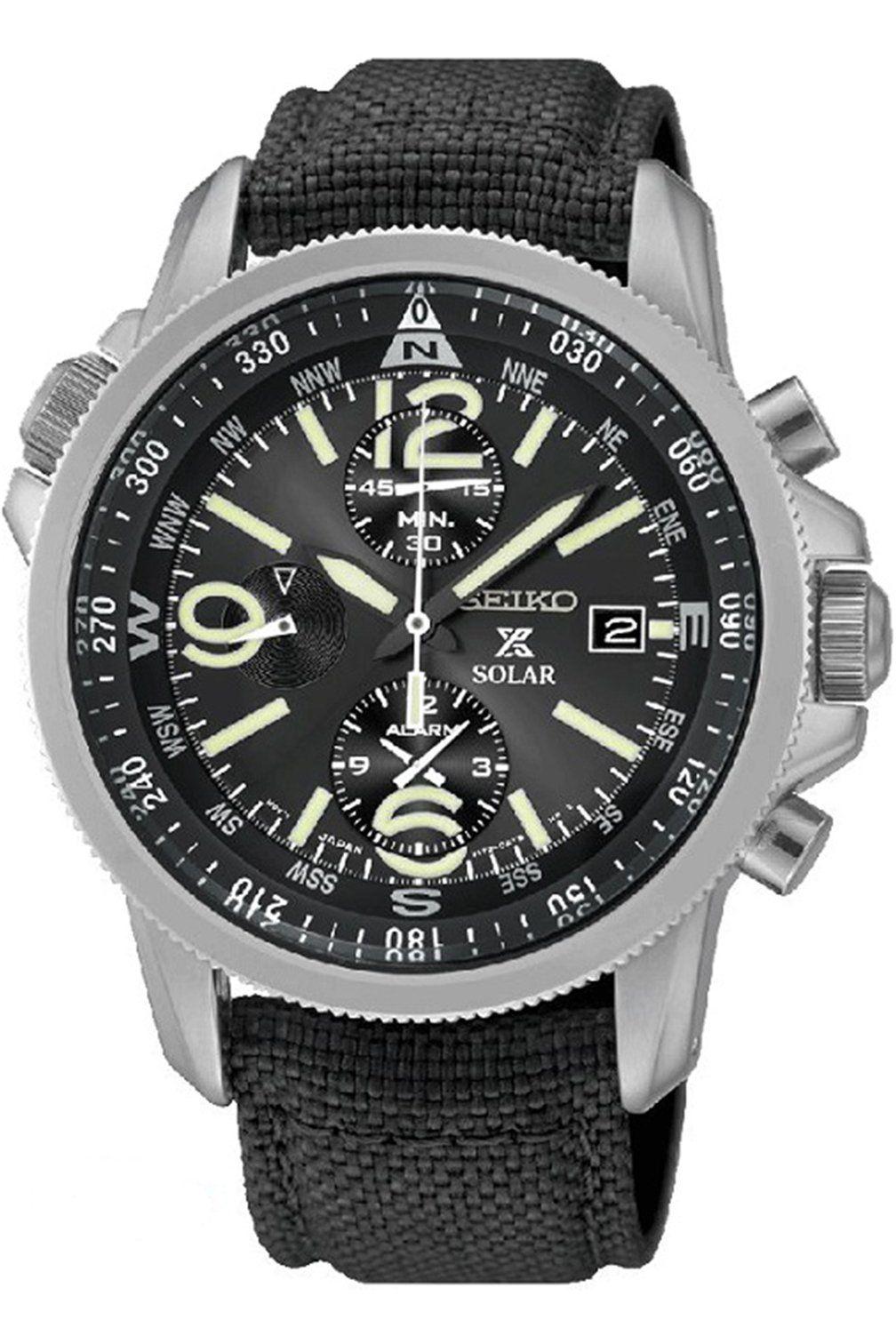 926464eb2433c Seiko SSC293P2 Prospex Men s Solar Military Alarm Chronograph 100m Water  Resistant