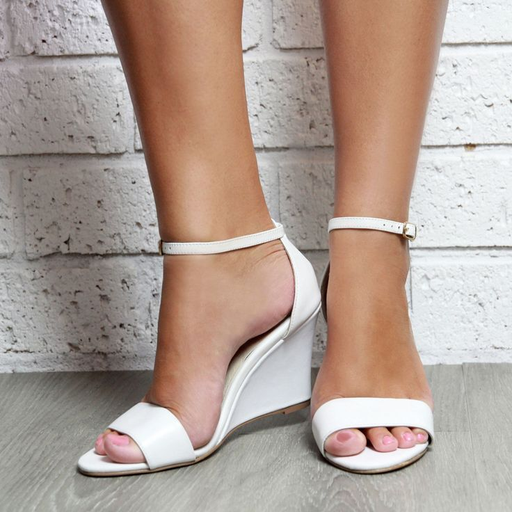 Ladies White Leather Wedge Shoes. White Wedding Shoes, White Wedge Heels, Bridal  Shoes