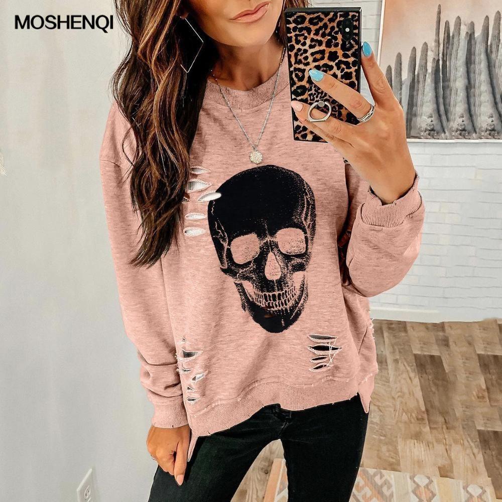 Women Halloween Skull Print Hoodie Pullover Sweatshirt Long Sleeve Shirt Blouse