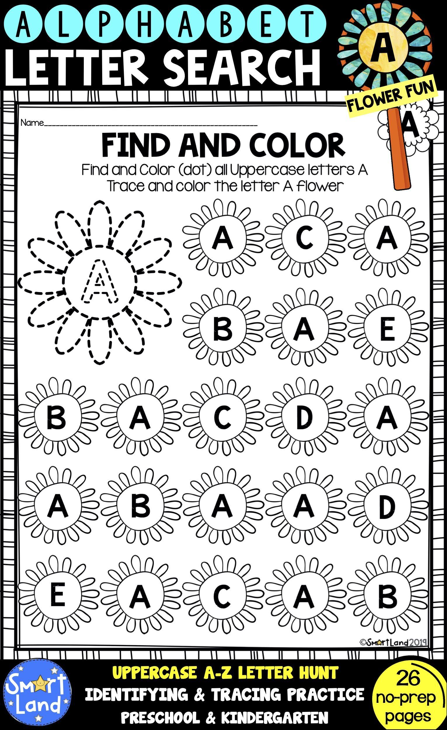 Alphabet Practice Letter Search Flowers Alphabet Practice Lettering Alphabet Handwriting Practice