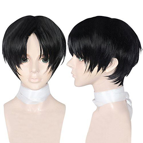 Cfalaicos Men S Boy S Short Black Cosplay Wig Synthetic Short Hair Black Anime Wigs Wigs