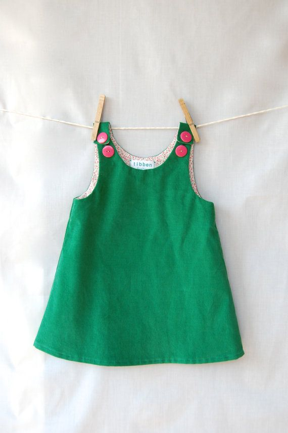 1952 emerald corduroy dress size 1824 months by tibben on Etsy, $36.00