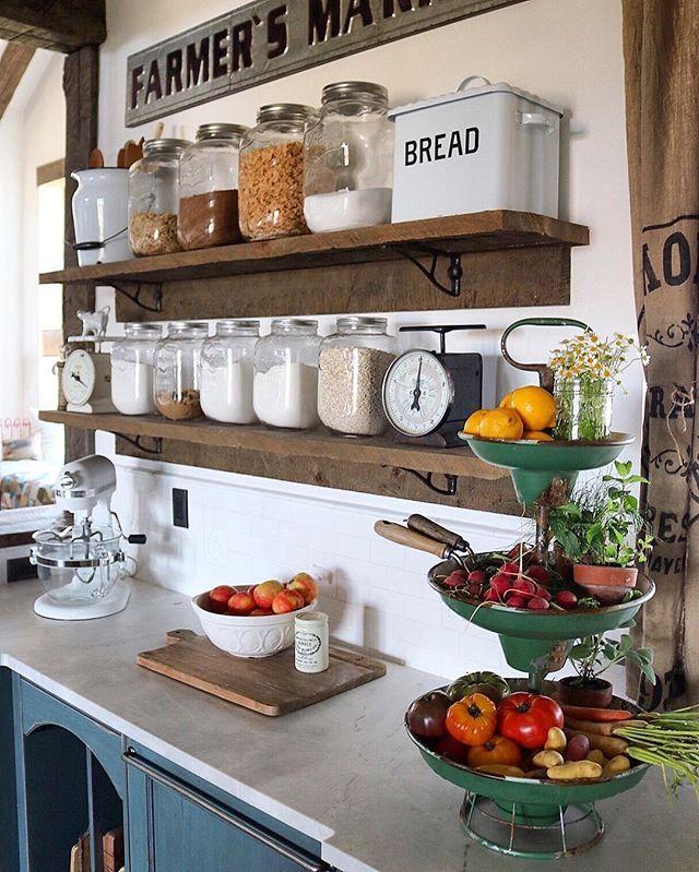 Adding farmhouse charm to the kitchen Bo-Boes kitchen Pinterest