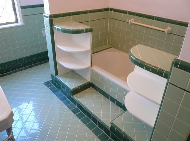 Tile showers designs 1950 sage green and forest green for 1930s floor tiles