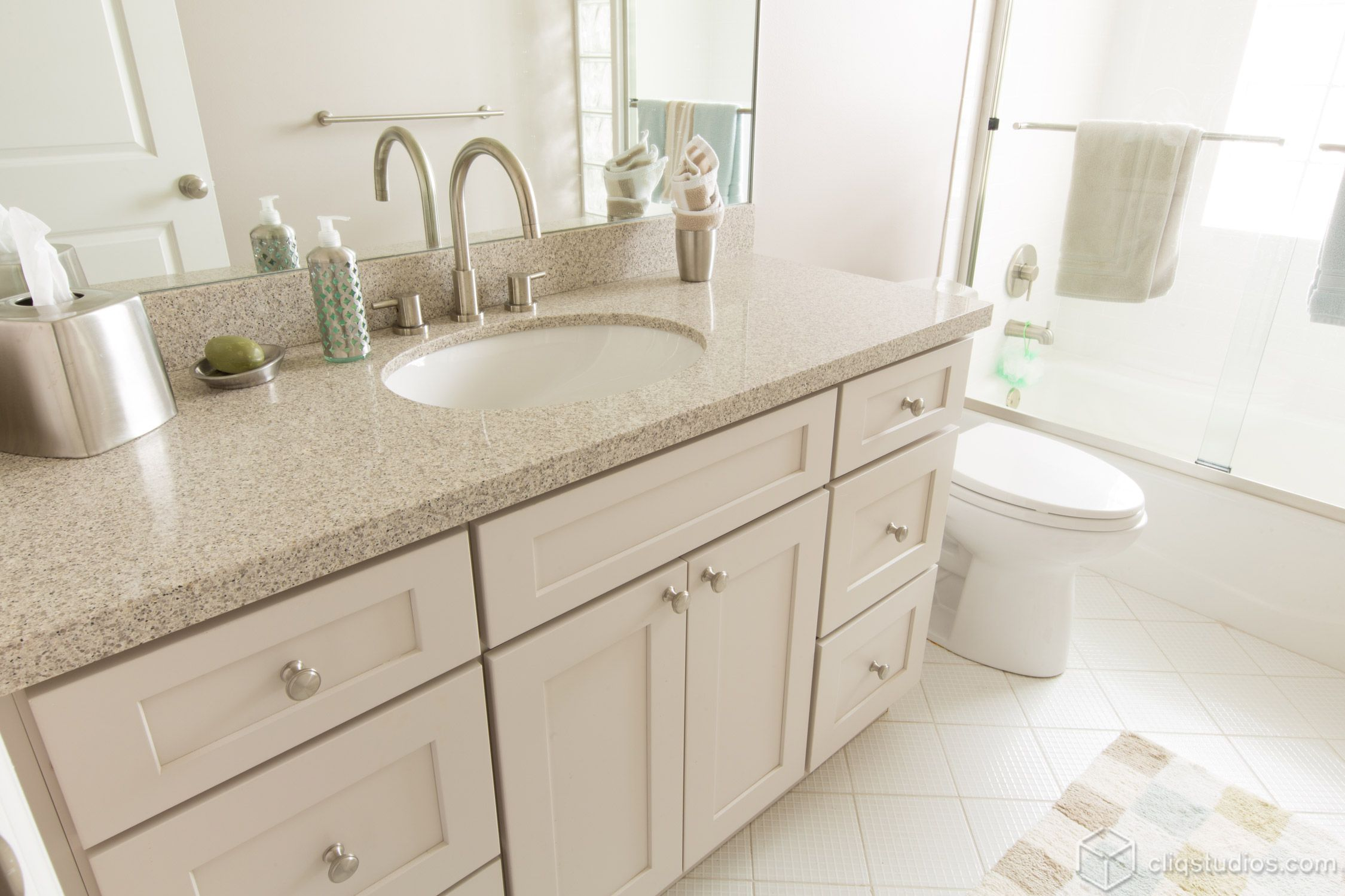 Dayton Painted Linen Mission Bath Vanity Cabinets from CliqStudios ...