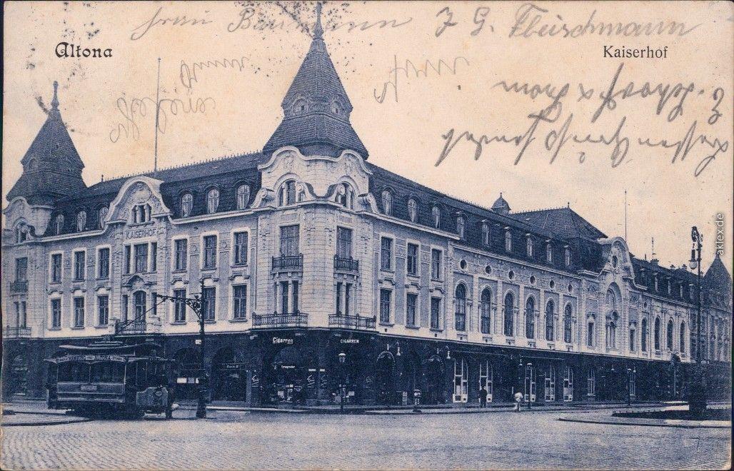 Ansichtskarten-Lexikon :: Hotel Kaiserhof - Straßenbahn :: Altona-Hamburg