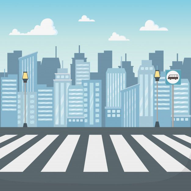 Download Cityscape Scene With Crosswalk Road for free