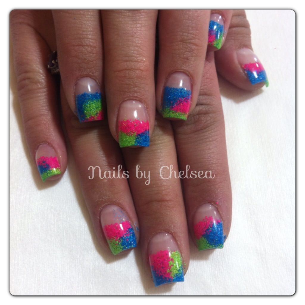 Pink, blue, and green neon gel Nails by @Chelsea Devine | Nails by ...