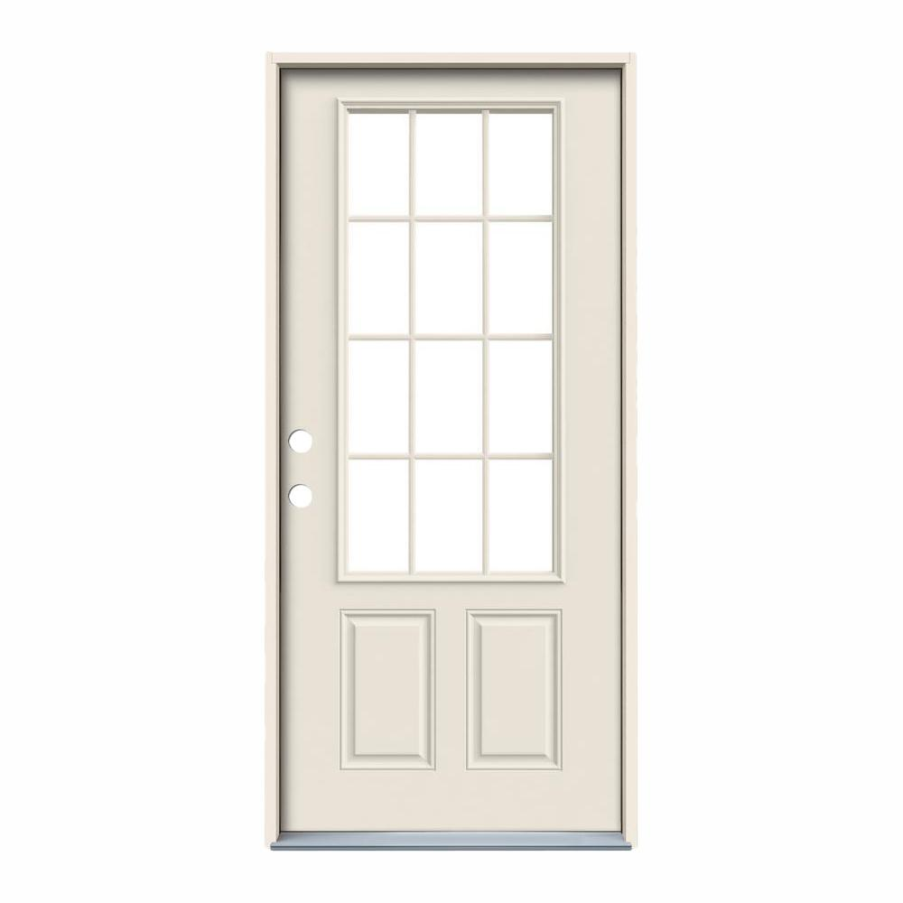 Jeld Wen 36 In X 80 In 12 Lite Primed Steel Prehung Right Hand Inswing Back Door Thdjw190900028 The Home Depot Jeld Wen Steel Doors Steel Doors Exterior