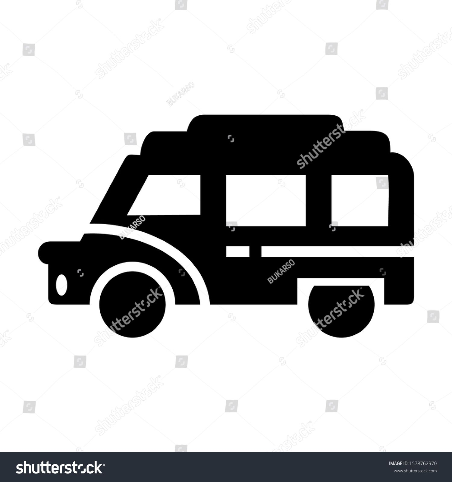 Delivery Van Icon Isolated Sign Symbol Vector Illustration High