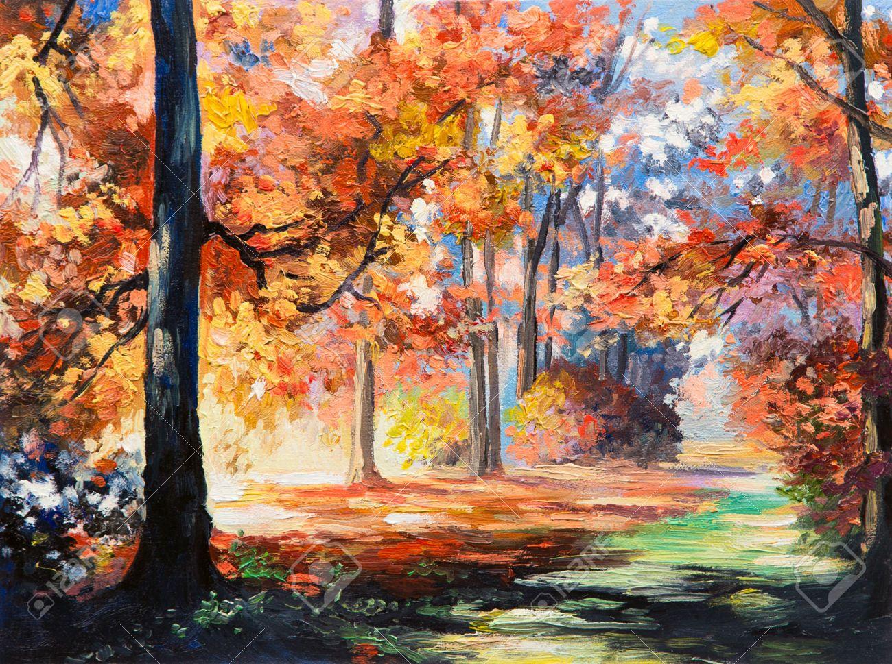 Peinture à L'huile Paysage - La Forêt D'automne Coloré, Parcours Dans La Forêt Banque D'Images ...