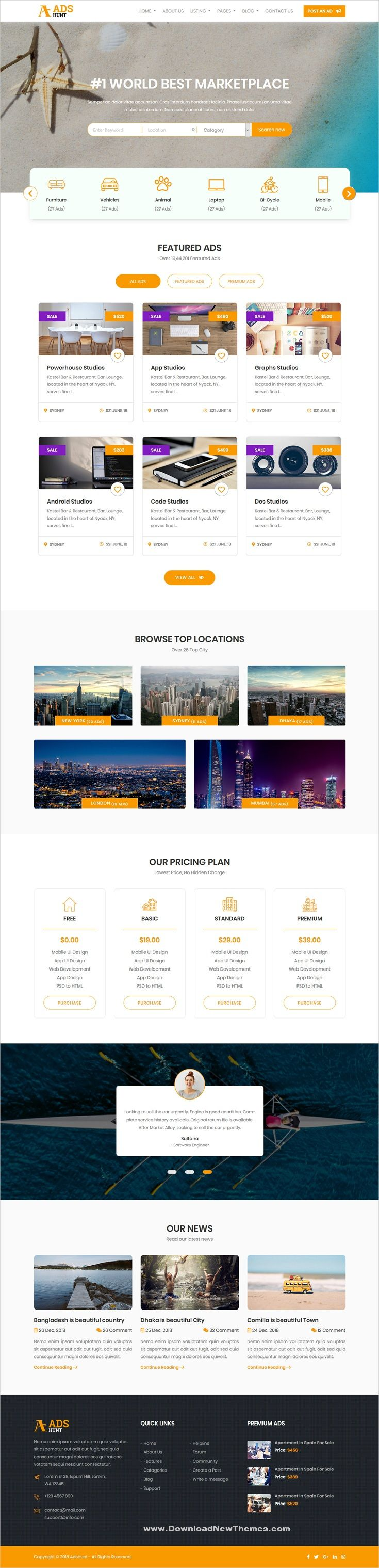 Adshunt Is A Clean And Modern Design 4in1 Responsive Bootstrap Html5 Theme For Classified And Ads Directory Listing Pr Html5 Templates Templates Web Design