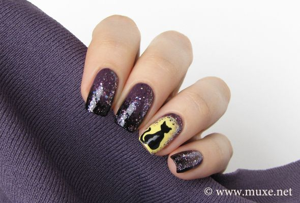 Just before the Halloween night I'd love to show you one more nail design,  suitable to for the holiday. This time I did a purple to black gradient, ... - Black Cat In The Moonlight - Maris Nail Polish Blog Nail Designs