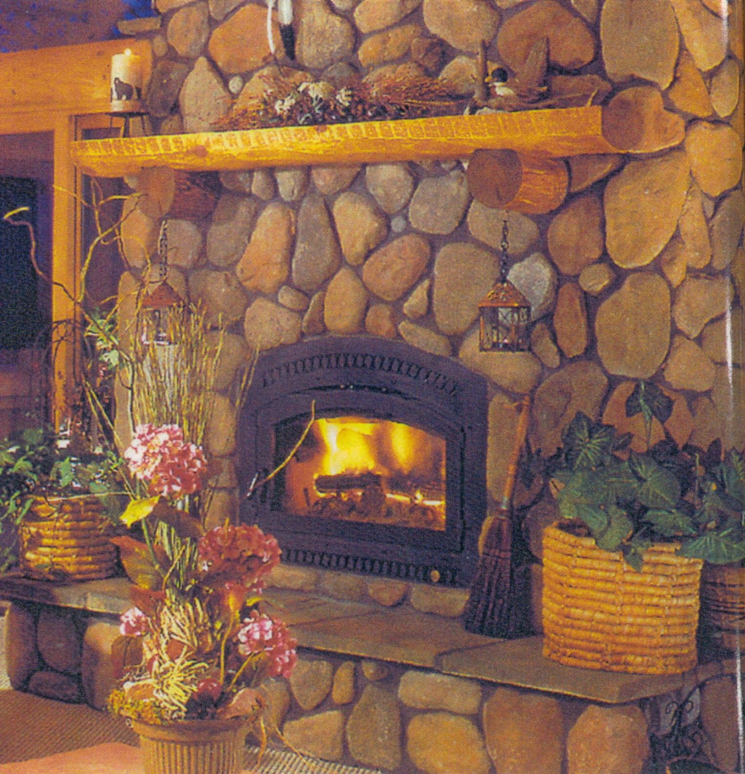 River rock fireplace pictures - River Rock Fireplaces Fireplace Constructed Of Brown Brick Rock With A Wood Mantle