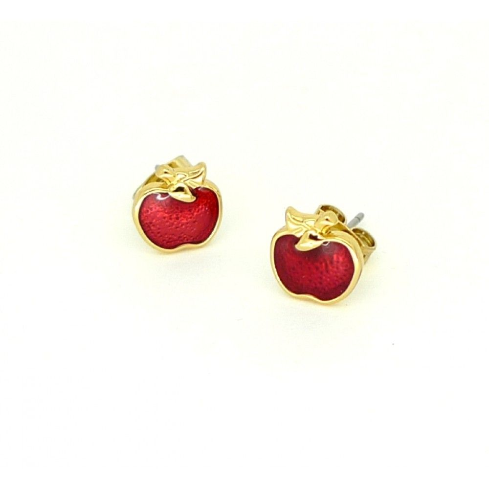 Disney Couture White Gold-Plated Red Enamel Poison Apple Stud Earrings 3OmqnCn