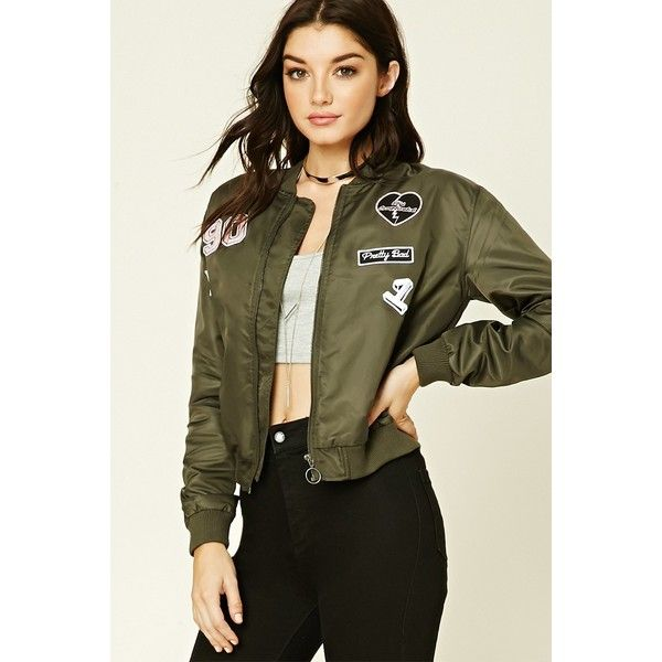 Forever 21 Women's Patched Bomber Jacket ($40) ❤ liked on ...