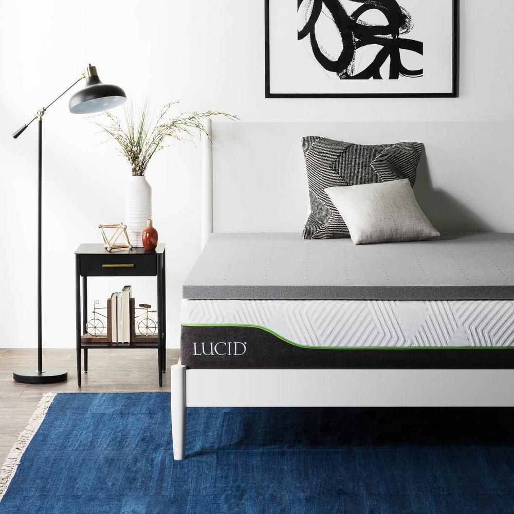 Lucid 2 In California King Memory Foam Mattress Topper Grey Memory Foam Mattress Topper Foam Mattress Queen Memory Foam Mattress