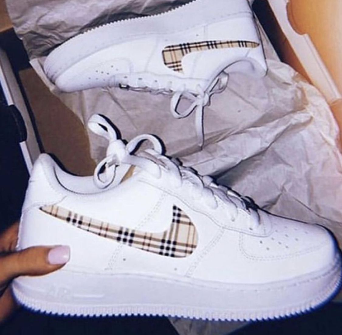 Plaid Air Force 1 In 2020 Custom Nike Shoes Aesthetic Shoes Sneakers