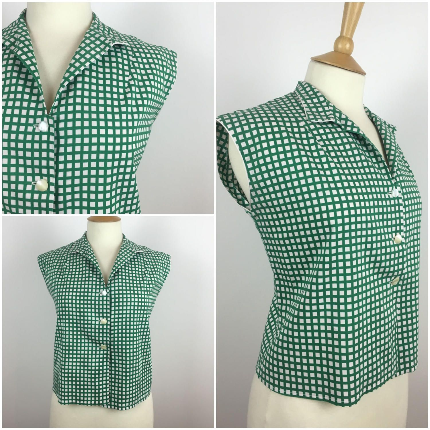 "Vintage 1950s Top - 50s Green Checked Cotton blouse - Sleeveless Shirt - Button Down Blouse - Pinup Rockabilly - UK 12-14 Medium Bust 38"" by Marneys on Etsy"