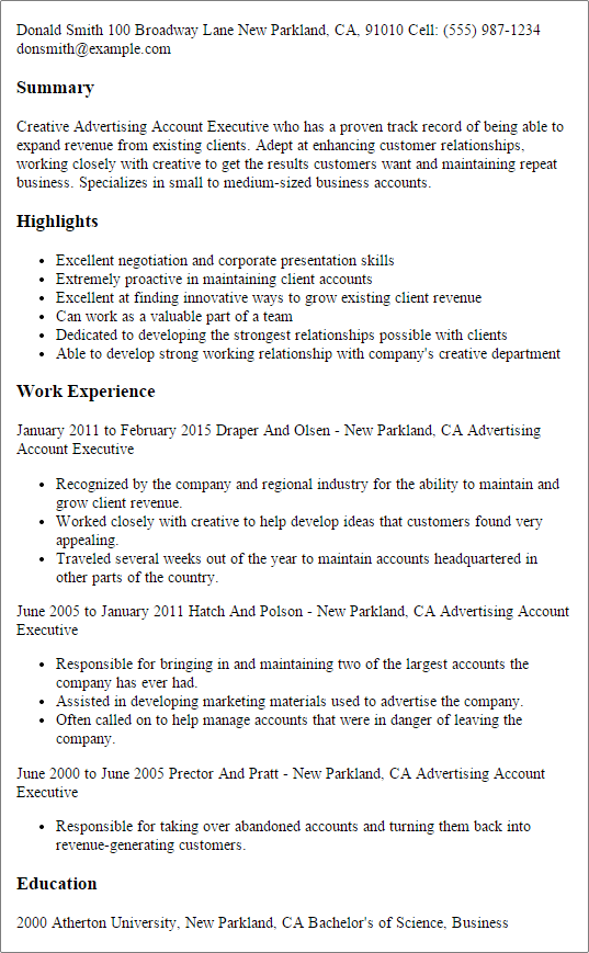 Resume Templates Advertising Account Executive Manager