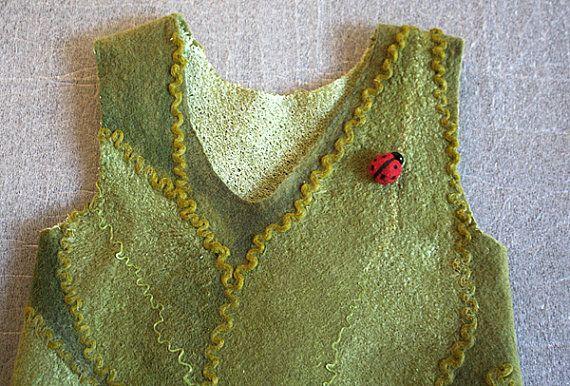 Green leaves and ladybug dress