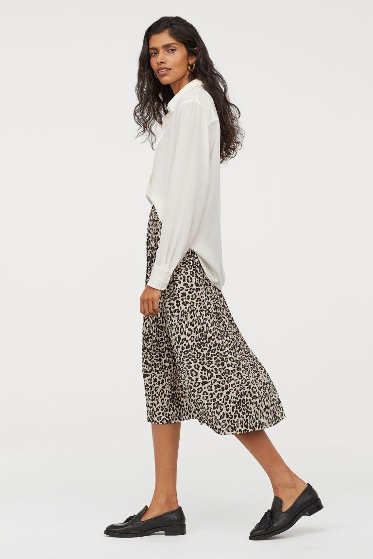 4613832daef0 Pleated Skirt - Beige/leopard print - Ladies | H&M US 2 also in BLACK