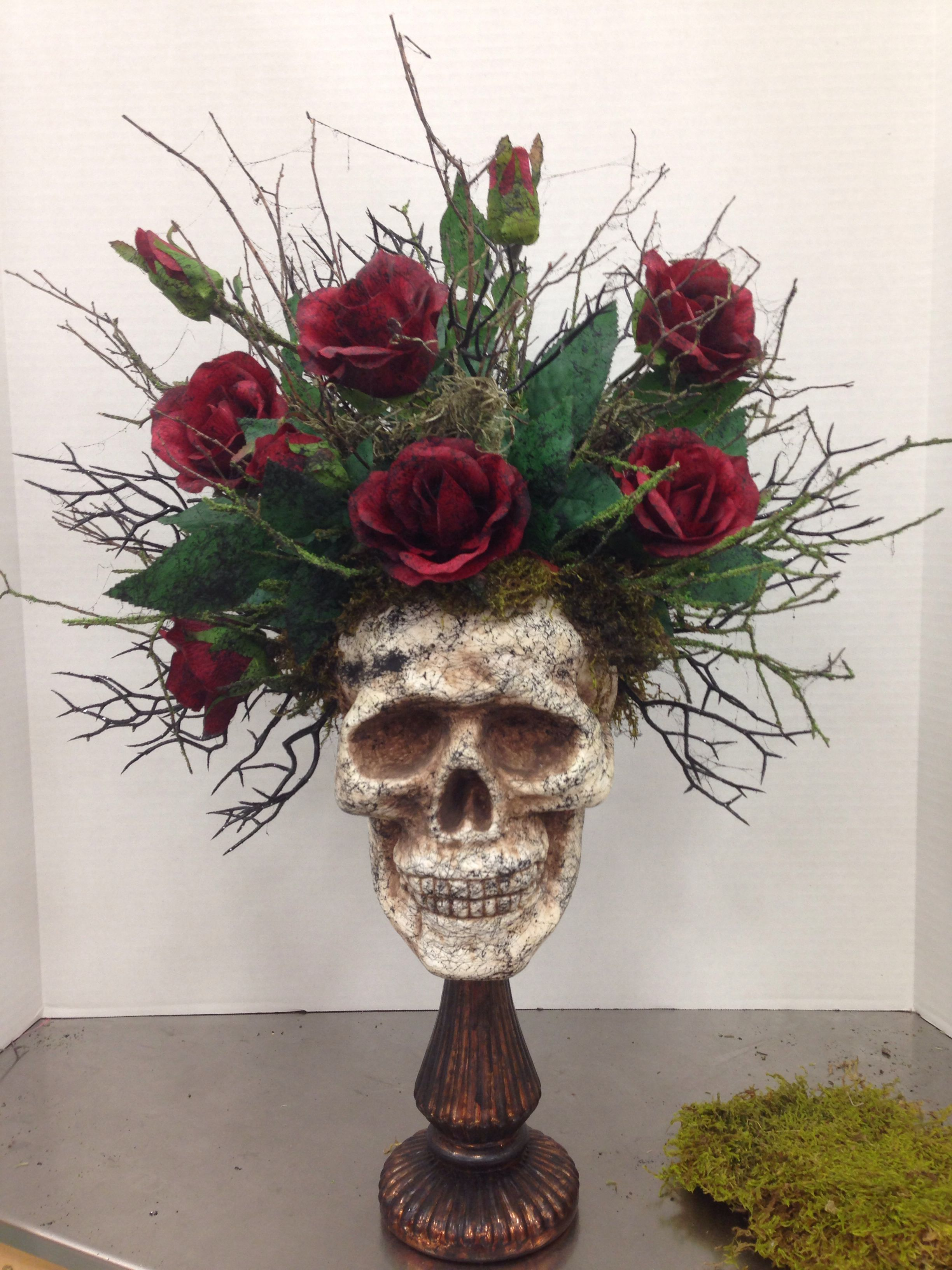 Halloween Skull Floral Arrangement By Kim T Halloween