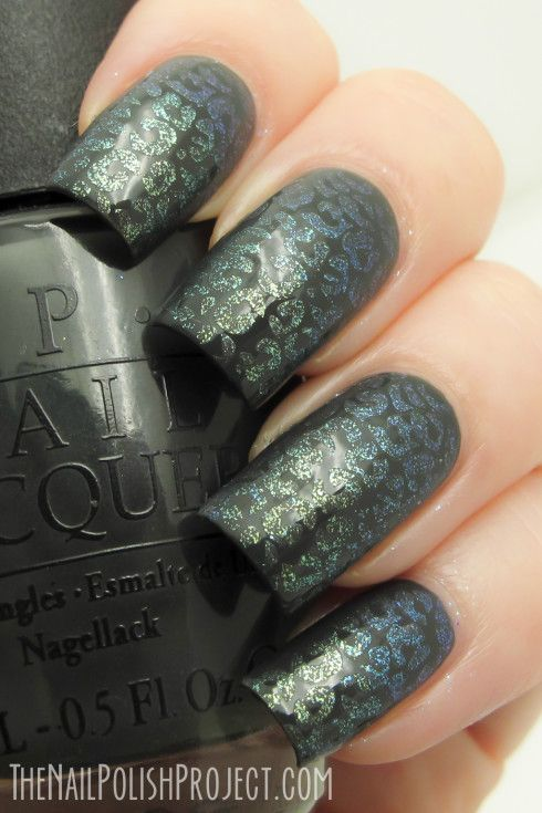 """I used a base of OPI Nein! Nein! Nein! OK Fine! from the OPI Germany collection [...], then I stamped them all using a dense leopard print from Red Angel plate RA-107. I used stripes of two colours to achieve a semi duochrome finish - Pretty Serious Phantom Planet and Galaxy Invader"" - See more at: http://mypolishstash.blogspot.com/2013/09/guest-post-jen-from-nail-polish-project.html#more"""