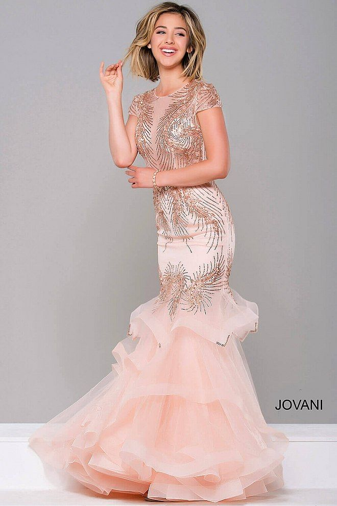 Blush Short Sleeve Embellished Mermaid Dress #47928 #blush #dress ...