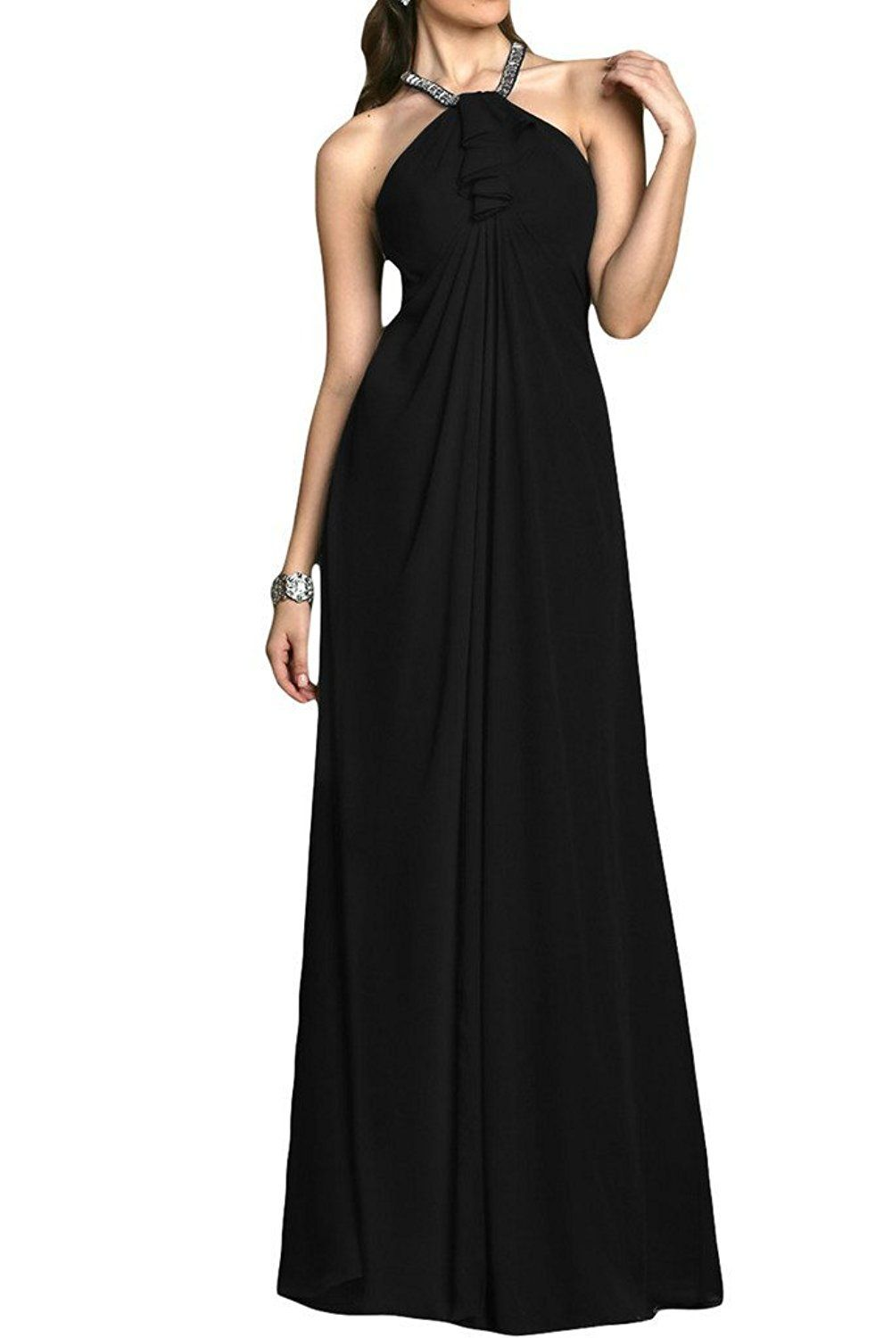 Ivydressing elegant aline halter chiffon prom club gowns evening
