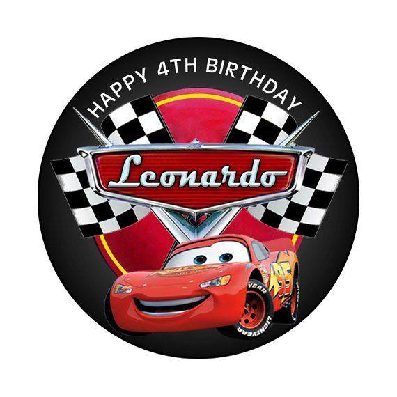 Disney Cars Lightning McQueen Round Sticker Label