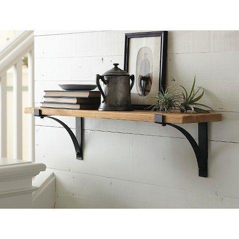 threshold natural wood shelf with brackets 24 living. Black Bedroom Furniture Sets. Home Design Ideas