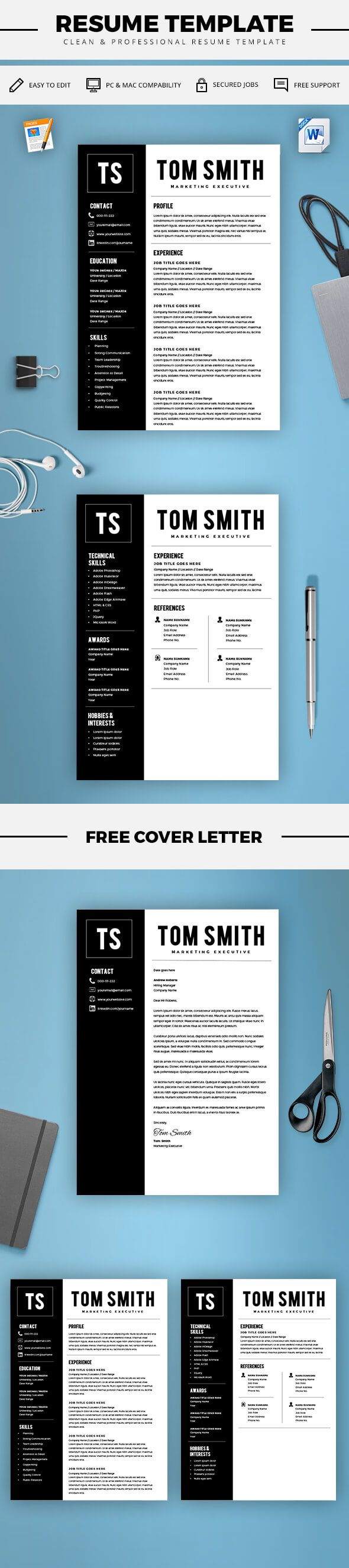 Two Page Resume Template  Resume Builder  Cv Template  Free Cover