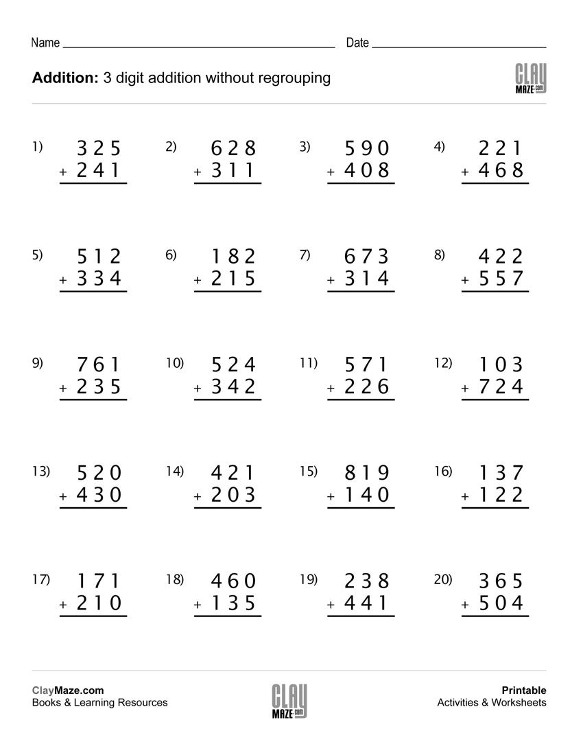 Here is a free printable 3-digit addition worksheet for do…   3rd grade  math worksheets [ 1100 x 850 Pixel ]