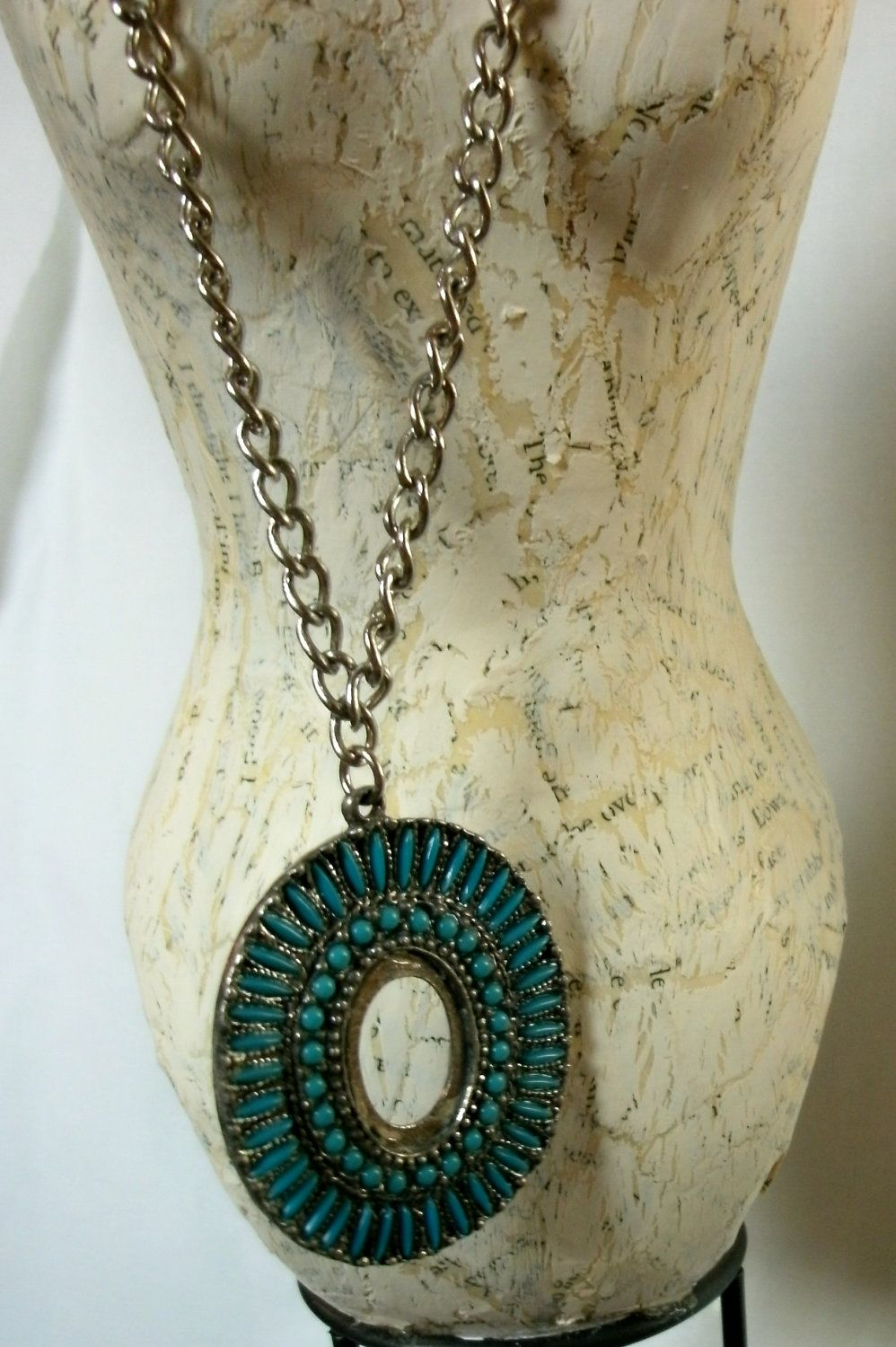 Faux turquoise and silver metal native american indian