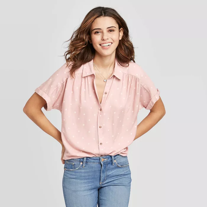 NWT Universal Thread™ Women/'s Short Sleeve Woven Button-Down Shirt Top Blouse