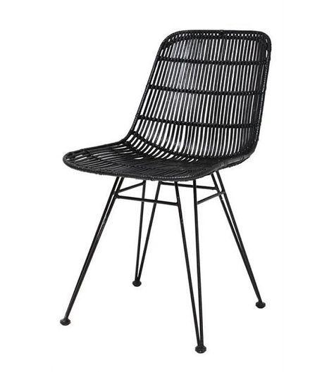 HK-living Salle à manger chaise en métal / rotin, noir, 80x44x57cm