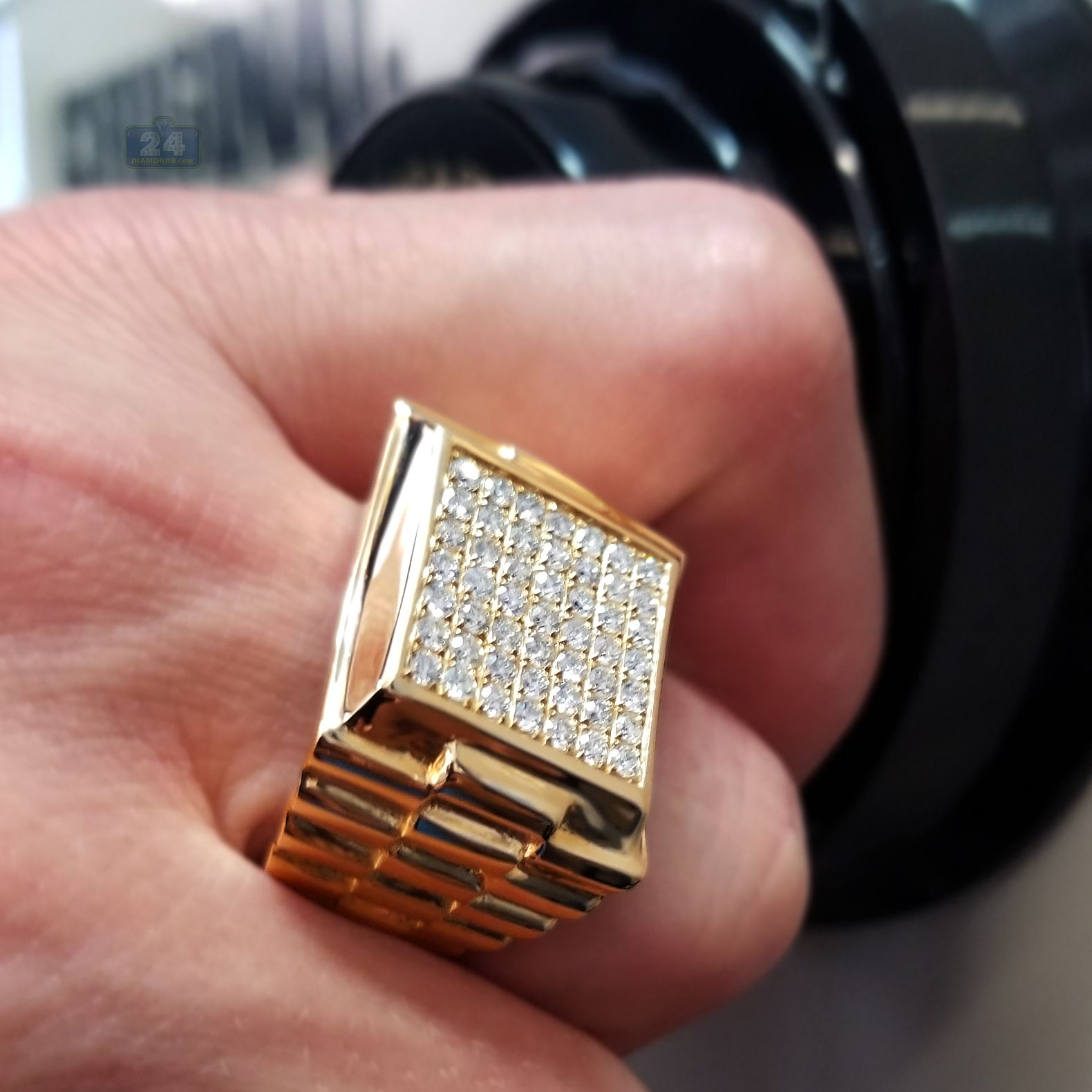 Taille 9 Homme 10K Black Gold Filled Trendy Gold Topaz engagement Fashion Ring