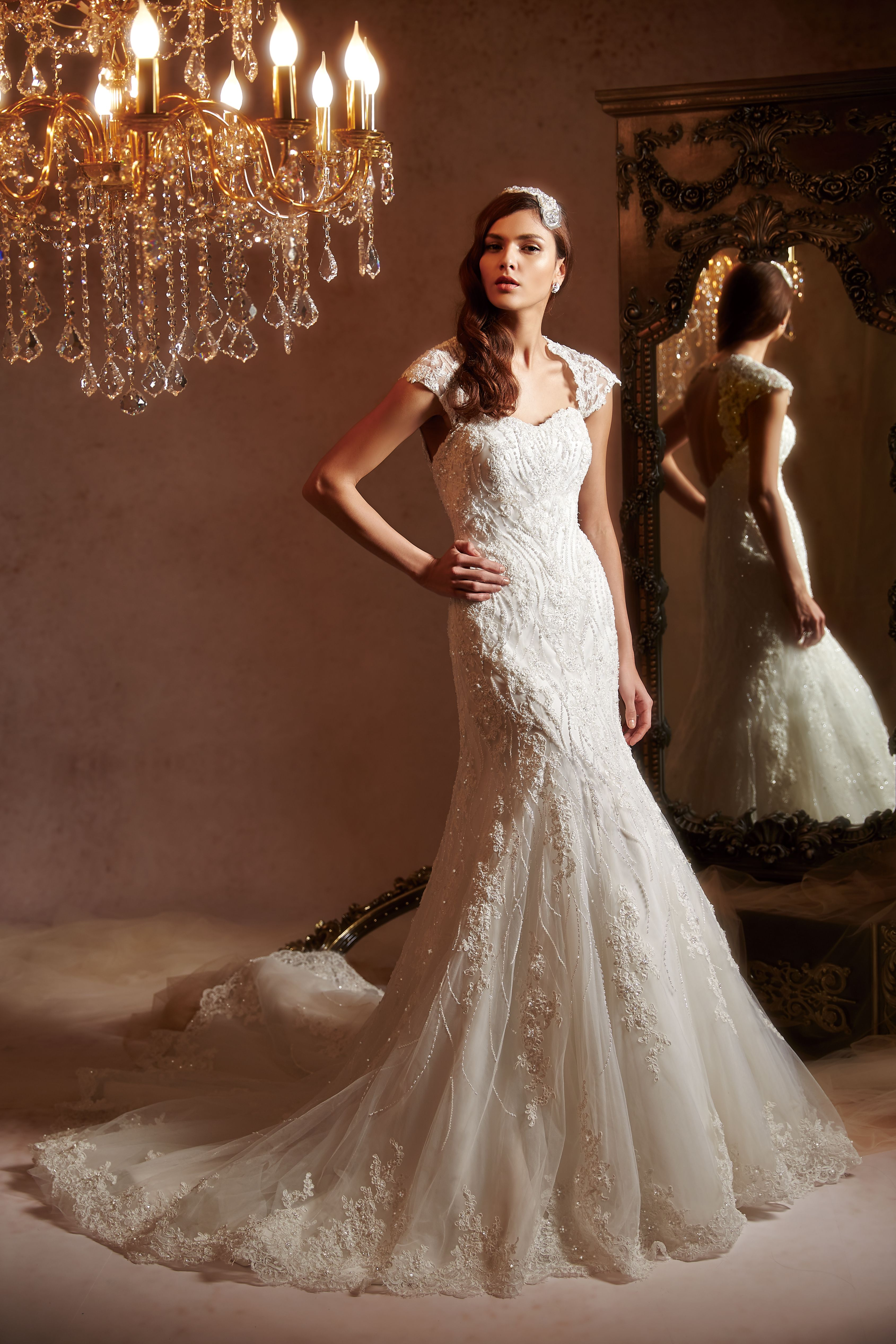 Fishtail wedding dress  Glamorous lace fishtail gown with detachable shoulder detail