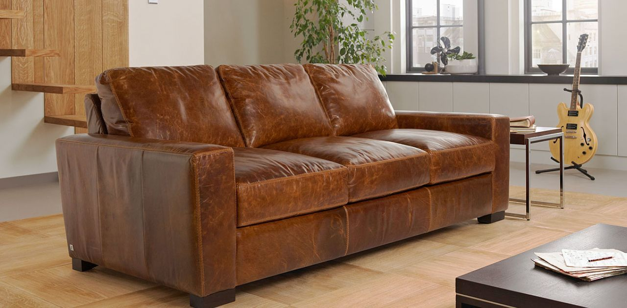 Lawrence 3 Seater Leather Sofa Sale Price £1349 Leather