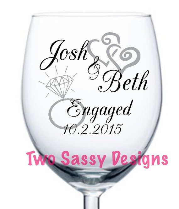 Bridal He asked Wedding Gift She said yes wine glass Just Engaged Personalized Engagement Gift Engaged Wine Glass Newly Engaged Gifts