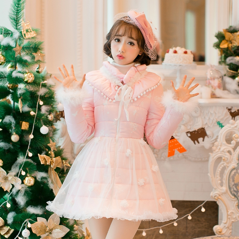91.69$  Know more - http://ai7k2.worlditems.win/all/product.php?id=32780221390 - Princess sweet lolita white dress Candy rain Japanese design Sweet long sleeve Collar bow sweet cotton padded coat C16CD6232