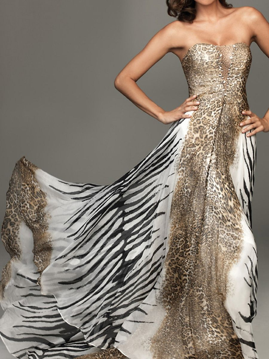 Leopard Print Wedding Dress Animal Chiffon Strapless Empire Waist Full Length A Line