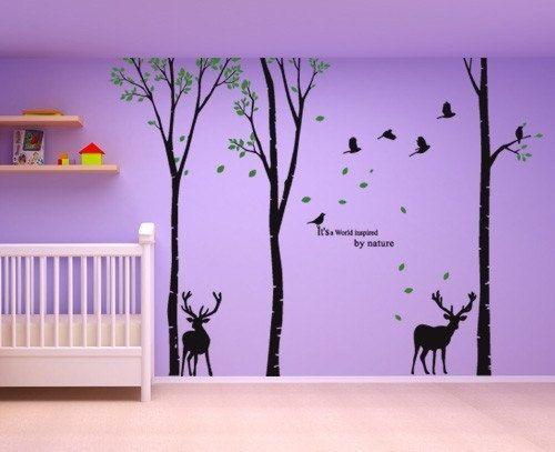 """Wall Decor Art Removable Mural Vinyl Decal Sticker 4 Tree Trunks Deer 96""""H 527"""