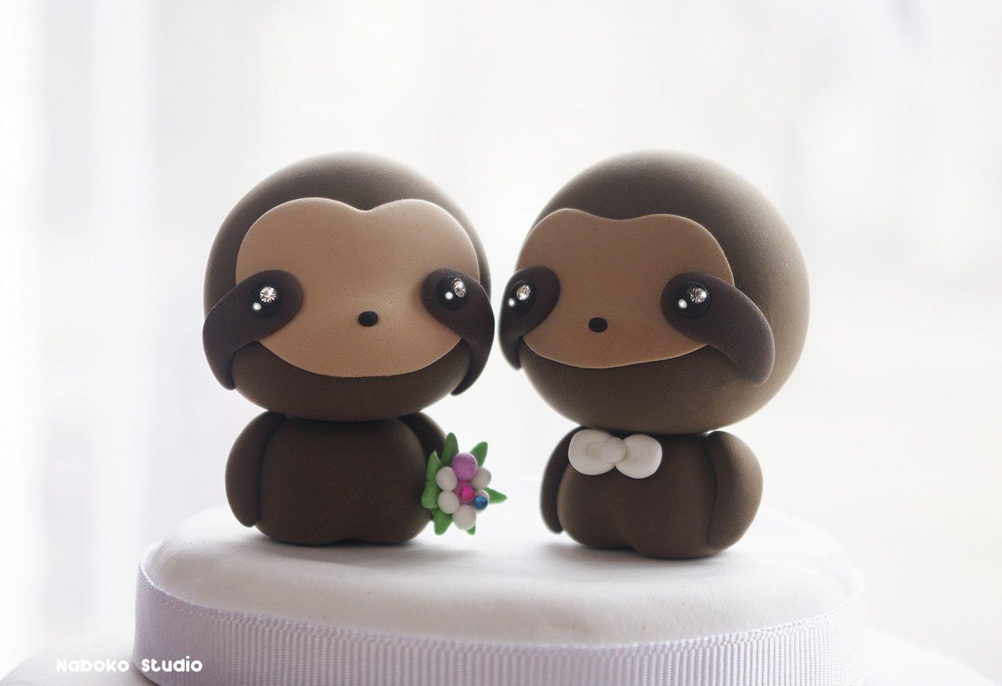 Sloths Wedding Cake Topper Kawaii Figurines Centerpiece By Naboko Studio