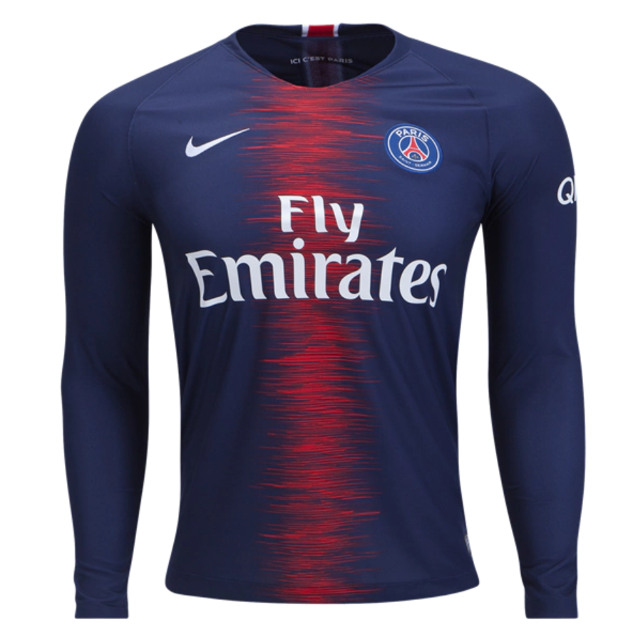 detailed look 1559b d0394 PSG 18/19 Home Men Long Sleeve Soccer Jersey Personalized ...