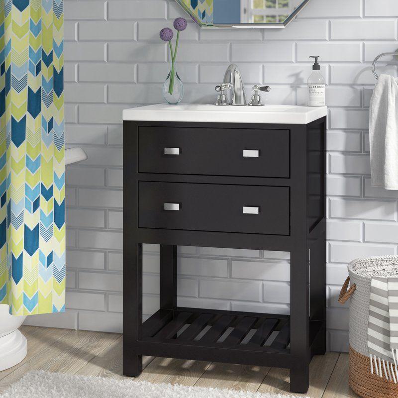 Knighten Modern 24 Single Bathroom Vanity Set Reviews Allmodern Single Bathroom Vanity Bathroom Vanity Shower Shelves