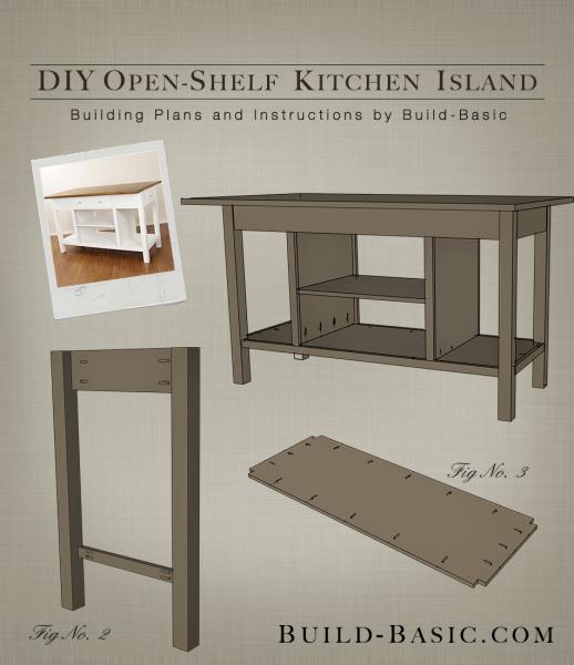 Build A Diy Open Shelf Kitchen Island Building Plans By Build Basic Buildbasic Www Build Ba With Images Open Kitchen Shelves Kitchen Island Building Plans Open Shelving